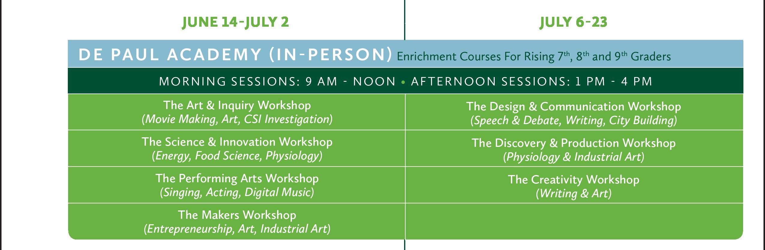 2021 De Paul Academy (In-Person) Calendar