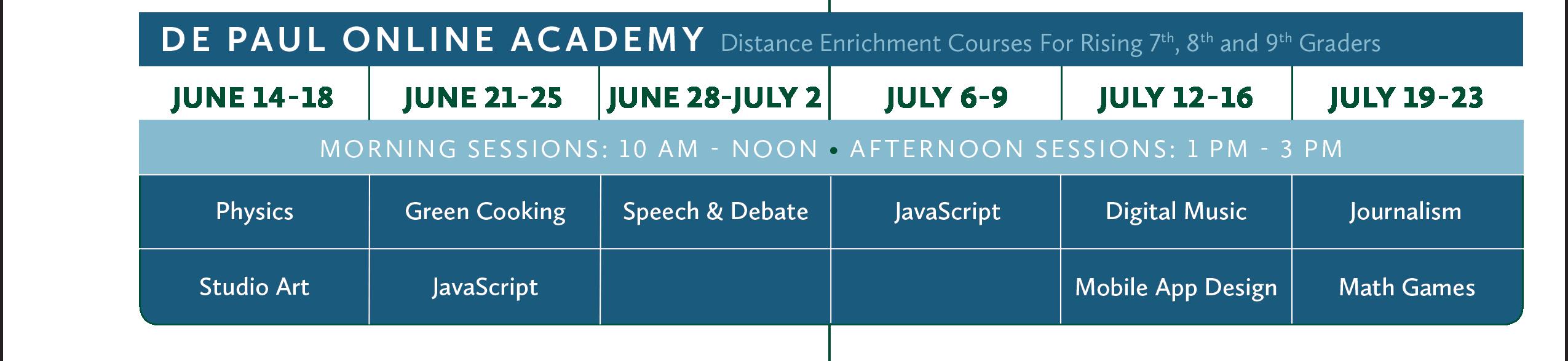 2021 De Paul Online Academy Calendar