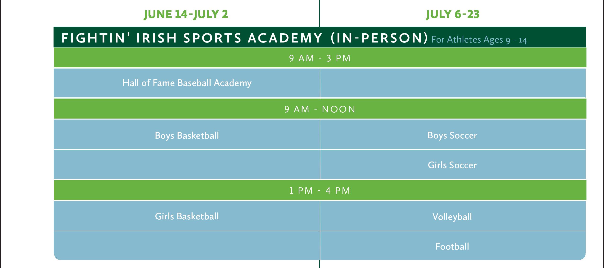 2021 Sports Academies Calendar