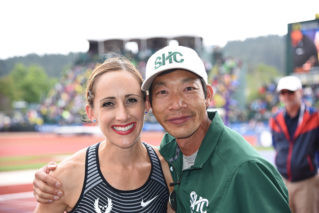 Shannon Rowbury '02 with SHC Track & Field, Cross Country Coach Andy Chan